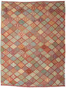 Kelim Afghan Old Style Teppe 263X347 Ekte Orientalsk Håndvevd Mørk Rød/Lys Grå Stort (Ull, Afghanistan)