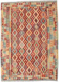 Kelim Afghan Old Style Teppe 252X344 Ekte Orientalsk Håndvevd Mørk Beige/Rust Stort (Ull, Afghanistan)