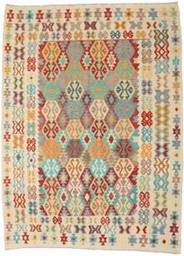 Kelim Afghan Old Style Teppe 256X345 Ekte Orientalsk Håndvevd Beige/Mørk Beige Stort (Ull, Afghanistan)