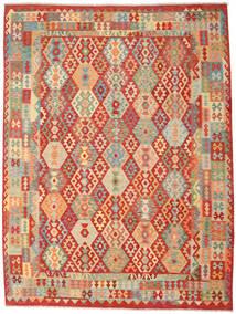Kelim Afghan Old Style Teppe 262X347 Ekte Orientalsk Håndvevd Rust/Mørk Beige Stort (Ull, Afghanistan)