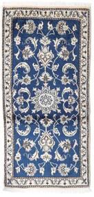 Nain Teppe 70X135 Ekte Orientalsk Håndknyttet Lys Grå/Mørk Blå (Ull, Persia/Iran)