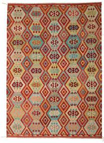 Kelim Afghan Old Style Teppe 246X348 Ekte Orientalsk Håndvevd Mørk Rød/Lysgrønn (Ull, Afghanistan)