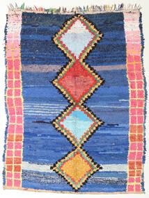 Berber Moroccan - Boucherouite Teppe 172X220 Ekte Moderne Håndknyttet Blå/Mørk Blå ( Marokko)