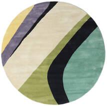 Dynamic Handtufted - Mint Teppe Ø 200 Moderne Rundt Mørk Beige/Mørk Grå/Pastell Grønn (Ull, India)