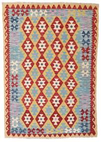 Kelim Afghan Old Style Teppe 124X179 Ekte Orientalsk Håndvevd Mørk Rød/Lys Grå/Mørk Beige (Ull, Afghanistan)