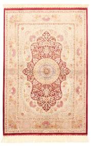 Ghom Silke Teppe 100X147 Ekte Orientalsk Håndvevd Beige/Lyserosa/Mørk Beige (Silke, Persia/Iran)