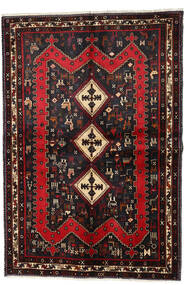 Afshar Teppe 159X232 Ekte Orientalsk Håndknyttet Svart/Mørk Rød (Ull, Persia/Iran)