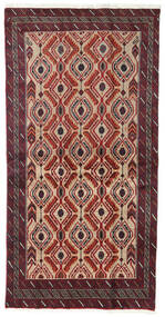 Beluch Teppe 100X192 Ekte Orientalsk Håndknyttet Mørk Rød/Mørk Brun/Lysbrun (Ull, Persia/Iran)