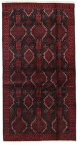 Beluch Teppe 98X188 Ekte Orientalsk Håndknyttet Svart/Mørk Rød (Ull, Persia/Iran)