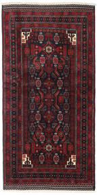Beluch Teppe 98X193 Ekte Orientalsk Håndknyttet Svart/Mørk Rød (Ull, Persia/Iran)