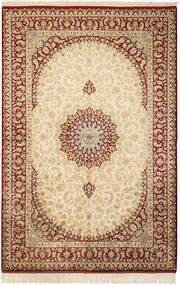 Ghom Silke Teppe 132X201 Ekte Orientalsk Håndknyttet Beige/Lysbrun (Silke, Persia/Iran)
