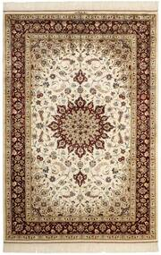 Ghom Silke Teppe 132X197 Ekte Orientalsk Håndknyttet Beige/Brun (Silke, Persia/Iran)