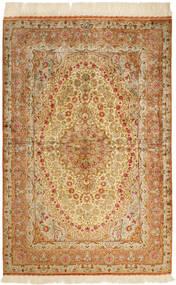 Ghom Silke Teppe 102X152 Ekte Orientalsk Håndknyttet Brun/Mørk Beige/Beige (Silke, Persia/Iran)