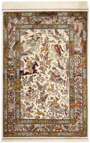 Ghom Silke Teppe 98X148 Ekte Orientalsk Håndknyttet Beige/Brun (Silke, Persia/Iran)