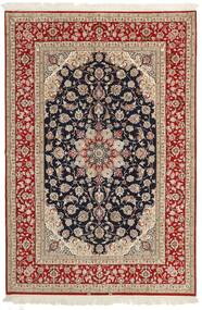 Isfahan Silkerenning Teppe 161X236 Ekte Orientalsk Håndvevd Lysbrun/Mørk Rød (Ull/Silke, Persia/Iran)