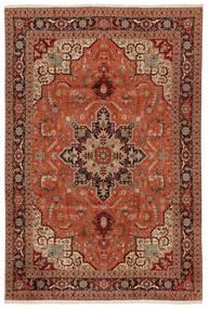 Tabriz 50 Raj Teppe 203X304 Ekte Orientalsk Håndknyttet Mørk Brun/Rød (Ull/Silke, Persia/Iran)