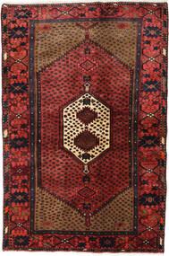 Hamadan Teppe 131X194 Ekte Orientalsk Håndknyttet Mørk Rød/Svart (Ull, Persia/Iran)