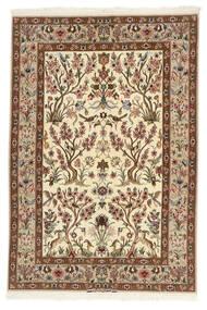 Isfahan Silkerenning Teppe 109X161 Ekte Orientalsk Håndvevd Beige/Brun (Ull/Silke, Persia/Iran)