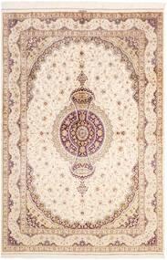 Ghom Silke Teppe 161X237 Ekte Orientalsk Håndknyttet Beige/Lyserosa (Silke, Persia/Iran)