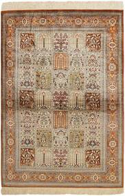 Ghom Silke Teppe 102X150 Ekte Orientalsk Håndvevd Brun/Lys Grå (Silke, Persia/Iran)
