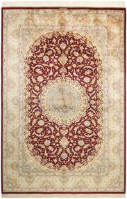 Ghom Silke Teppe 155X235 Ekte Orientalsk Håndknyttet Beige/Mørk Beige (Silke, Persia/Iran)