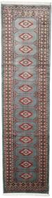 Pakistan Bokhara 2Ply Teppe 75X295 Ekte Orientalsk Håndknyttet Teppeløpere Mørk Grå/Svart (Ull, Pakistan)