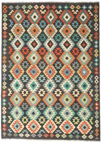 Kelim Afghan Old Style Teppe 177X247 Ekte Orientalsk Håndvevd Svart/Lys Grå (Ull, Afghanistan)