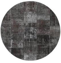 Patchwork - Persien/Iran Teppe Ø 200 Ekte Moderne Håndknyttet Rundt Mørk Grå/Svart (Ull, Persia/Iran)