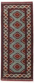 Turkaman Teppe 81X196 Ekte Orientalsk Håndknyttet Teppeløpere Mørk Rød/Mørk Brun (Ull, Persia/Iran)