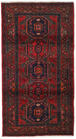 Hamadan Teppe 107X200 Ekte Orientalsk Håndknyttet Mørk Rød/Svart (Ull, Persia/Iran)