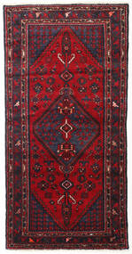 Hamadan Teppe 103X200 Ekte Orientalsk Håndknyttet Mørk Rød/Mørk Brun (Ull, Persia/Iran)