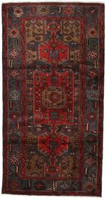 Hamadan Teppe 107X204 Ekte Orientalsk Håndknyttet Mørk Rød/Mørk Brun (Ull, Persia/Iran)