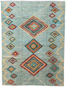 Moroccan Berber - Afghanistan Teppe 203X274 Ekte Moderne Håndknyttet Lys Grå/Turkis Blå (Ull, Afghanistan)