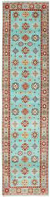 Kazak Teppe 84X348 Ekte Orientalsk Håndknyttet Teppeløpere Turkis Blå/Mørk Rød (Ull, Pakistan)