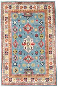Kazak Teppe 193X296 Ekte Orientalsk Håndknyttet Mørk Beige/Turkis Blå (Ull, Afghanistan)