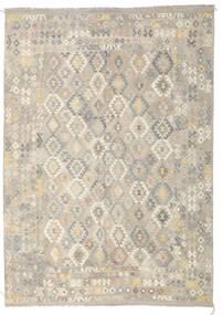 Kelim Afghan Old Style Teppe 246X349 Ekte Orientalsk Håndvevd Lys Grå/Mørk Beige (Ull, Afghanistan)