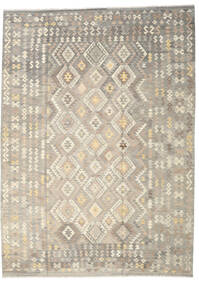 Kelim Afghan Old Style Teppe 249X345 Ekte Orientalsk Håndvevd Lys Grå/Beige (Ull, Afghanistan)