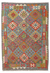 Kelim Afghan Old Style Teppe 123X176 Ekte Orientalsk Håndvevd Mørk Grå/Mørk Rød (Ull, Afghanistan)