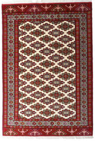 Turkaman Teppe 140X203 Ekte Orientalsk Håndknyttet Mørk Rød/Beige (Ull, Persia/Iran)