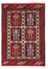 Turkaman Teppe 61X86 Ekte Orientalsk Håndknyttet Mørk Rød/Hvit/Creme (Ull, Persia/Iran)
