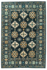 Kazak Teppe 203X298 Ekte Orientalsk Håndknyttet Mørk Blå/Mørk Turkis (Ull, Afghanistan)