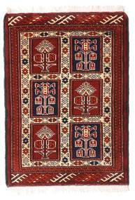 Turkaman Teppe 62X86 Ekte Orientalsk Håndknyttet Mørk Rød/Hvit/Creme (Ull, Persia/Iran)