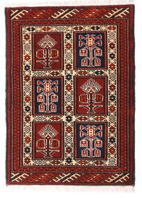 Turkaman Teppe 63X87 Ekte Orientalsk Håndknyttet Mørk Rød/Hvit/Creme (Ull, Persia/Iran)