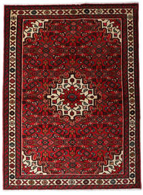Hosseinabad Teppe 110X150 Ekte Orientalsk Håndknyttet Mørk Rød (Ull, Persia/Iran)