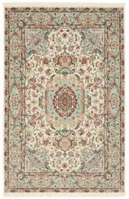 Tabriz 70 Raj Silkerenning Teppe 100X152 Ekte Orientalsk Håndknyttet Lys Grå/Beige (Ull/Silke, Persia/Iran)