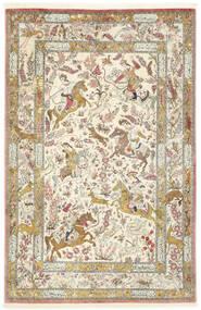 Ghom Silke Teppe 132X203 Ekte Orientalsk Håndknyttet Beige/Mørk Beige (Silke, Persia/Iran)
