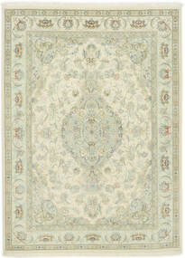 Tabriz 70 Raj Silkerenning Teppe 150X202 Ekte Orientalsk Håndknyttet Mørk Beige/Beige (Ull/Silke, Persia/Iran)
