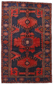 Hamadan Teppe 132X211 Ekte Orientalsk Håndknyttet Mørk Lilla/Mørk Rød (Ull, Persia/Iran)