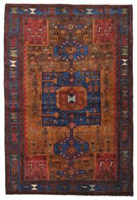 Hamadan Teppe 138X204 Ekte Orientalsk Håndknyttet Mørk Rød/Mørk Brun (Ull, Persia/Iran)