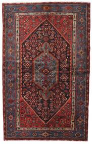 Hamadan Teppe 140X222 Ekte Orientalsk Håndknyttet Mørk Rød/Svart (Ull, Persia/Iran)